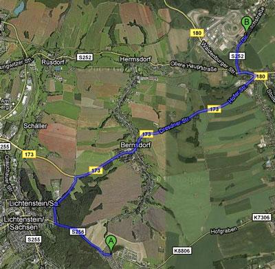 Route zum Sachsenring